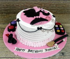 Brands Fashionista Barbie Cake Doll Cake Makeup Accessories Custom Cake Hyderabad Cupcakes