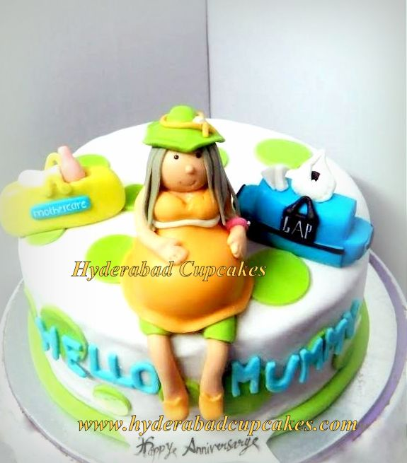 Baby Shower Pregnant Baby Bump Mommy Cake Hyderabad Cupcakes