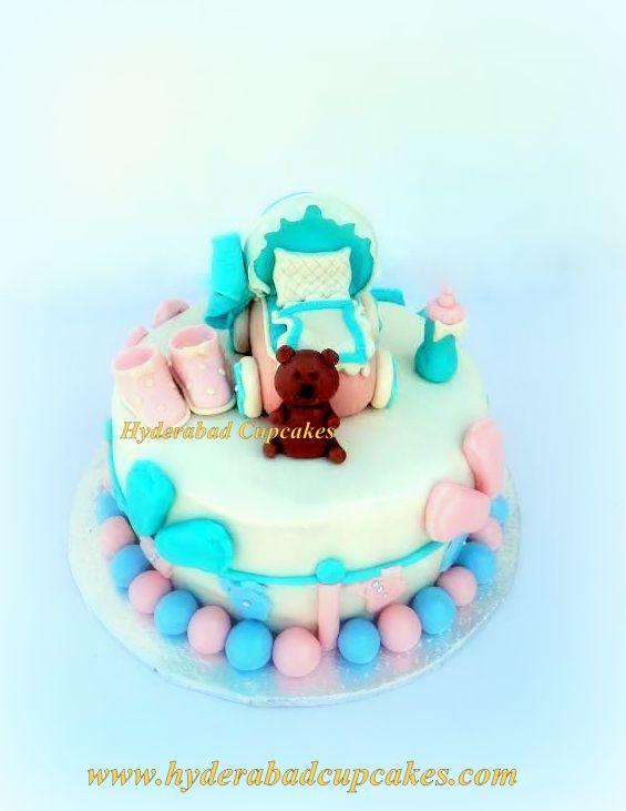 Baby Shower Stroller Pink Blue Footprints Teddy Bear Custom Cake Hyderabad Cupcakes