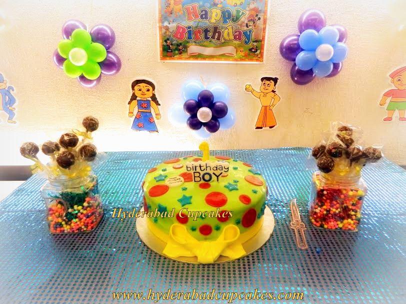 Birthday Cake Green Polka Dots Stars Cake Pops Display Chota Bheem Hyderabad Cupcakes