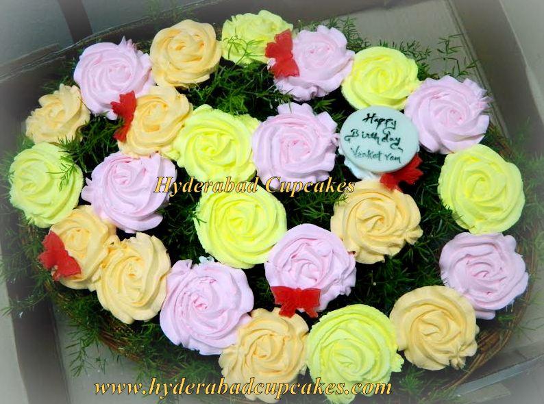 Birthday Cupcake Bouquet Roses Pink Yellow Orange Hyderabad Cupcakes
