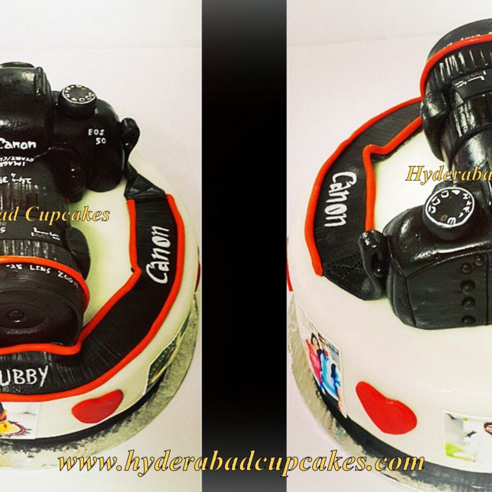 Canon DSLR Camera 3d Cake Birthday Anniversary Love Edible Carved Hyderabad Cupcakes Collage