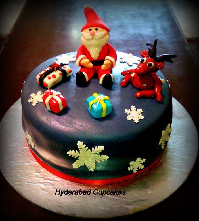Christmas Cake Blue White Snowflakes Santa Reindeer Presents Custom Hyderabad Cupcakes