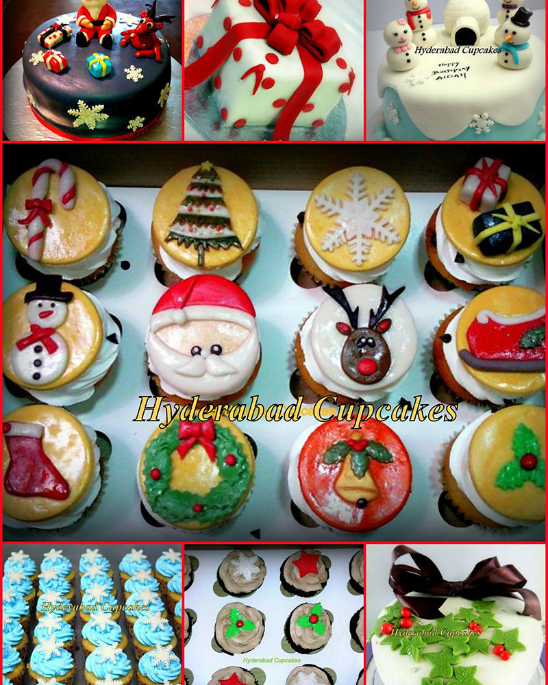 Christmas Collage Cupcakes Cakes Custom Hyderabad Cupcakes
