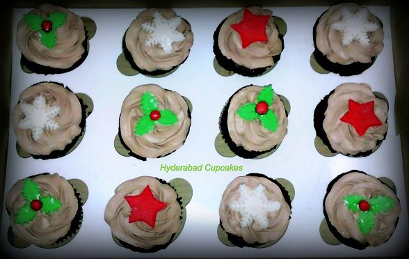 Christmas Cupcakes Chocolate Holly Green Red Mistletoe Snowflakes Red Star Hyderabad Cupcakes