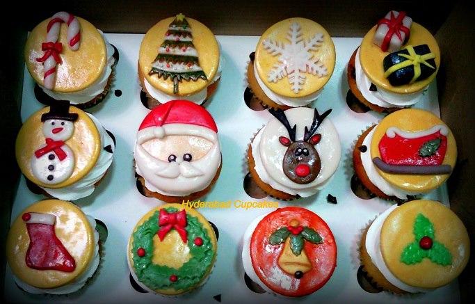 Christmas Cupcakes Wreath Santa Gold Red Green Candy Cane Sleigh Holly Custom Hyderabad Cupcakes