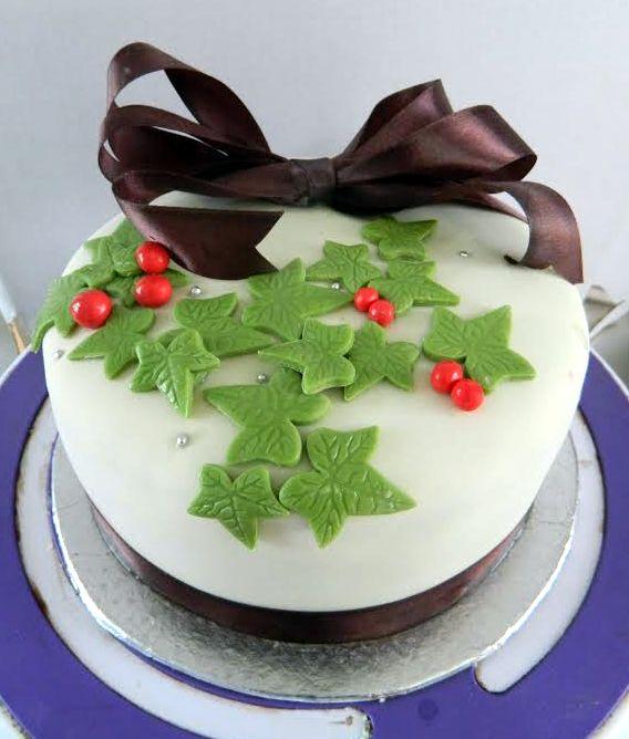 Christmas Holly Leaves Celebration Cake Hyderabad Cupcakes