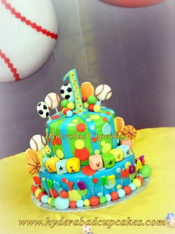 Colorful Balls Sports Polka Dots First Birthday Cake Hyderabad Cupcakes