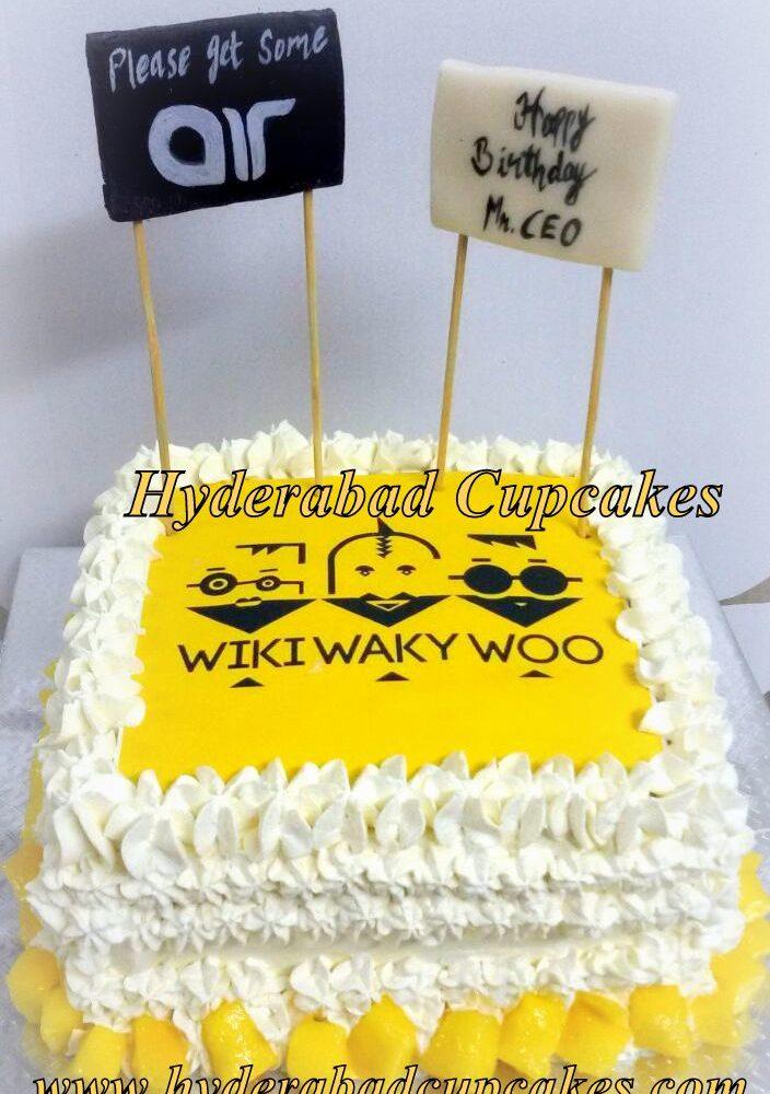 Corporate Celebration Cake Mango Cake Custom Logo Hyderabad Cupcakes