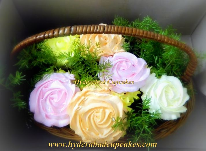 Cupcake Bouquet Small Pink Yellow Colorful Roses Hyderabad Cupcakes