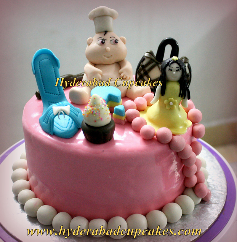 Custom Birthday Cake Sweets Pink Pearls Designer Bag Gown Doll High Heel Personalized Fashion Hyderabad Cupcakes