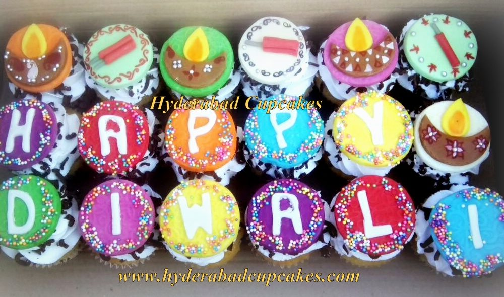 Diwali Cupcakes Celebration Diya Firecrackers Hyderabad Cupcakes