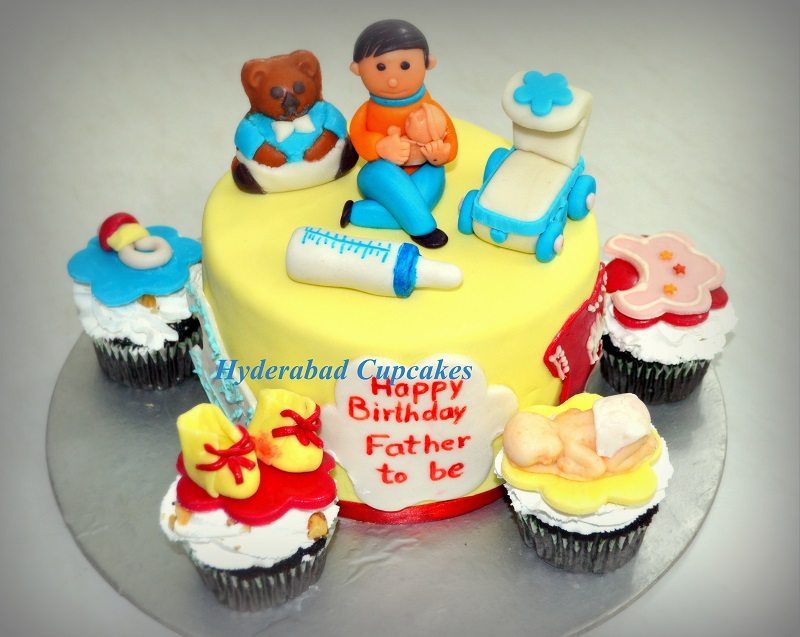 Father Daddy To Be Cake Cupcakes Baby Shower Hyderabad Cupcakes