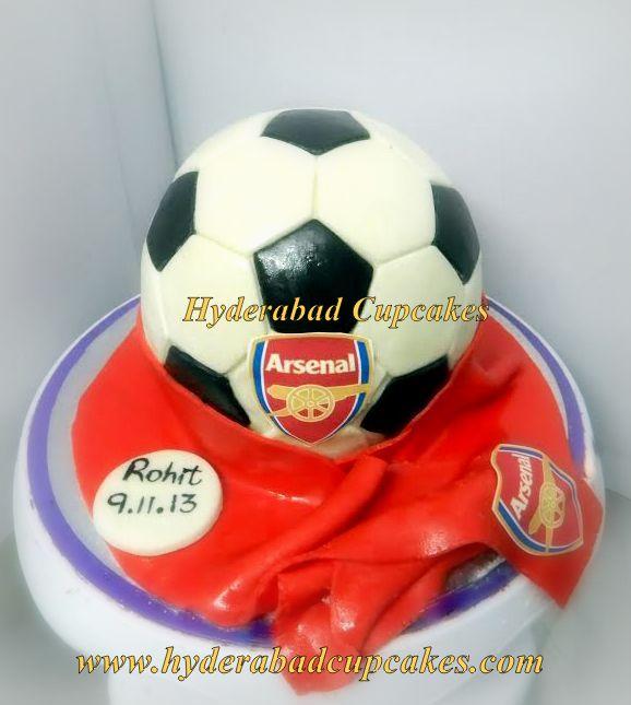Football Soccer Custom Cake Birthday Arsenal Red Fifa Hyderabad Cupcakes