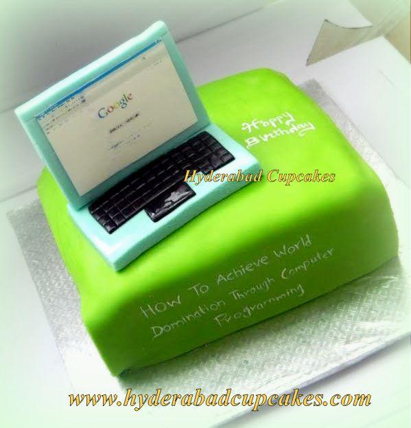 Google Laptop Green Birthday Cake Hyderabad Cupcakes