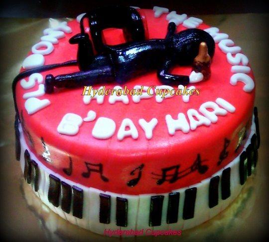 Music Birthday Cake Piano Hyderabad Cupcakes