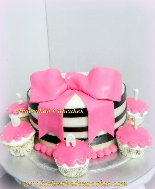 Pink Black Stripes Bow Fashion Stylish Cake Cupcakes Hyderabad Cupcakes