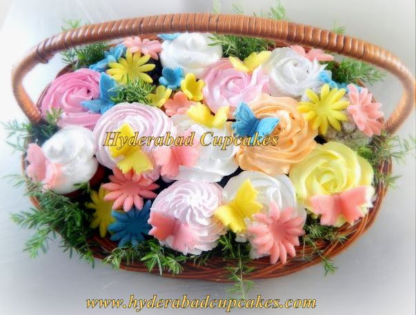 Pink Green Yellow Bright Summer Colors Cupcake Bouquet Hyderabad Cupcakes