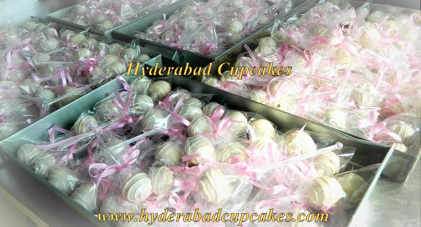 Pink White Cake Pops Baby Shower Girl Princess Hyderabad Cupcakes