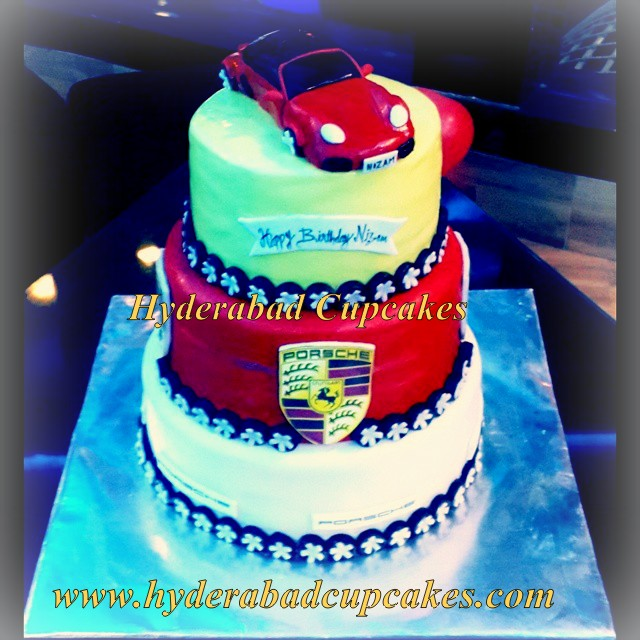 Porsche Three Tier Custom Birthday Cake 3d Fondant Car Work Logo Hyderabad Cupcakes
