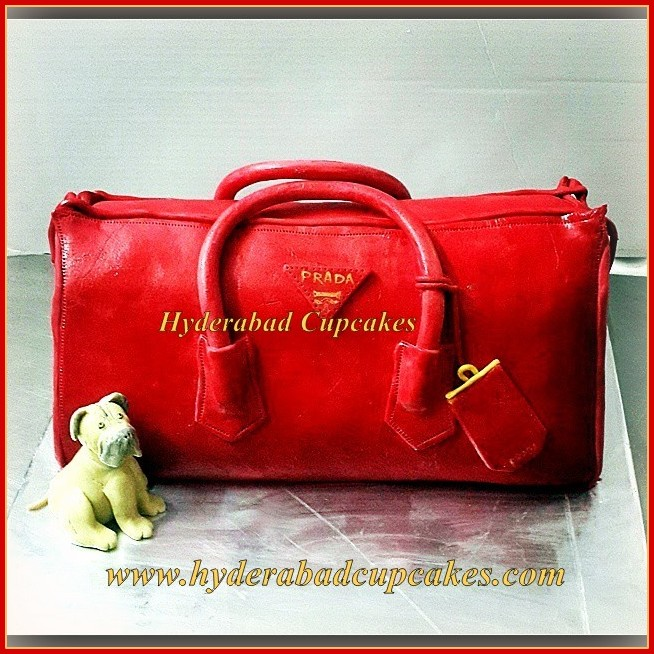 Prada Red Handbag Custom Cake Fondant Puppy Dog Handmade Edible Hyderabad Cupcakes