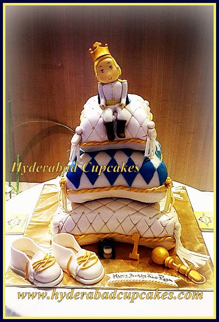Prince Pillows Royal Baby Shower First Birthday Cake Gold Blue Rattle Shoes Crown Hyderabad Cupcakes