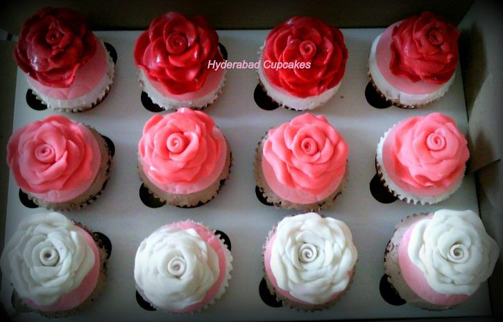 Red White Pink Roses Cupcakes Hyderabad Cupcakes
