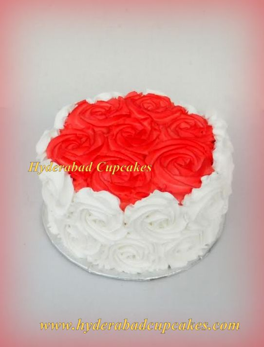 Red White Roses Custom Cake Hyderabad Cupcakes