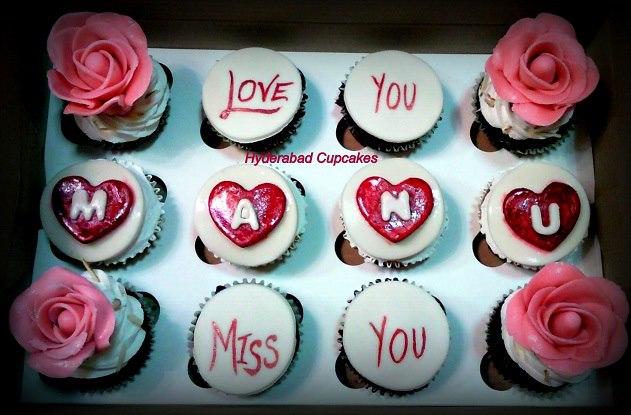 Roses Messages Hearts Hyderabad Cupcakes