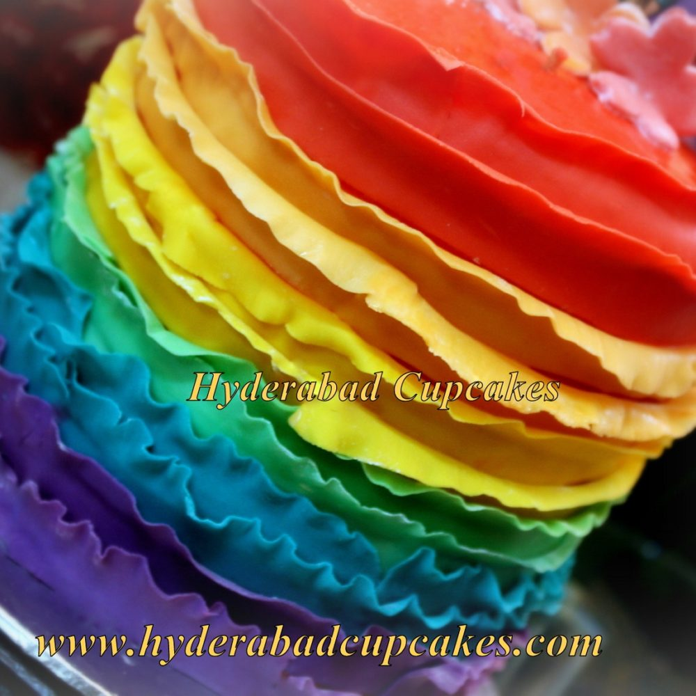 Ruffles Fondant Rainbow Layers Birthday Cake Hyderabad Cupcakes