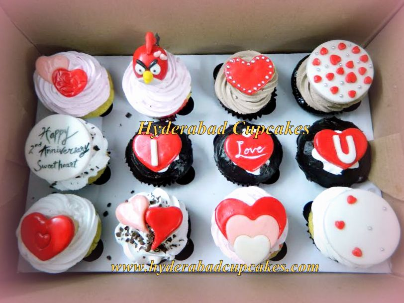 Valentines Cupcakes Hearts Love Angry Birds Assorted Cupcakes Hyderabad Cupcakes