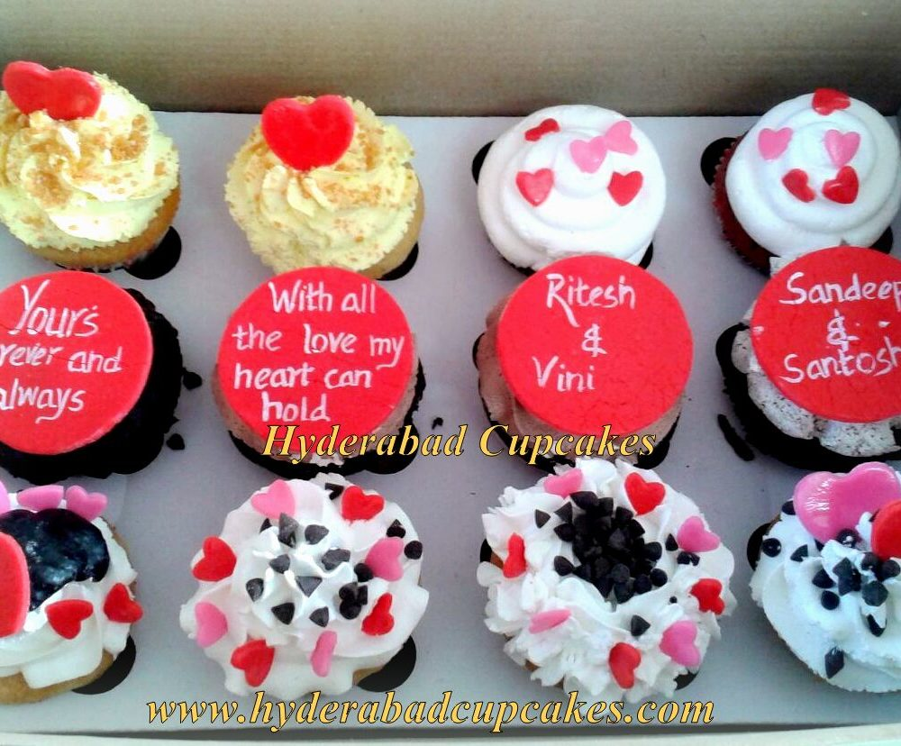Valentines Day Cupcakes Custom Design Red Pink Hearts Assorted Gourmet Flavors Hyderabad Cupcakes