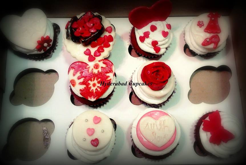 Valentines Hearts Roses Cupcakes Hyderabad Cupcakes