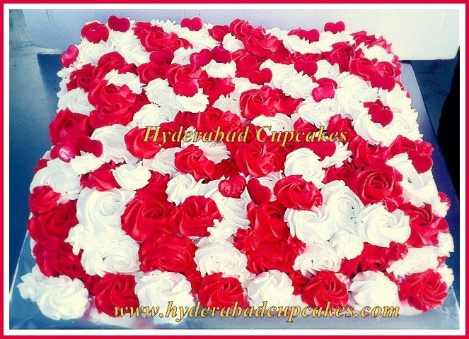 Valentines Roses Covered Custom Cake Anniversary Love Celebration Hyderabad Cupcakes