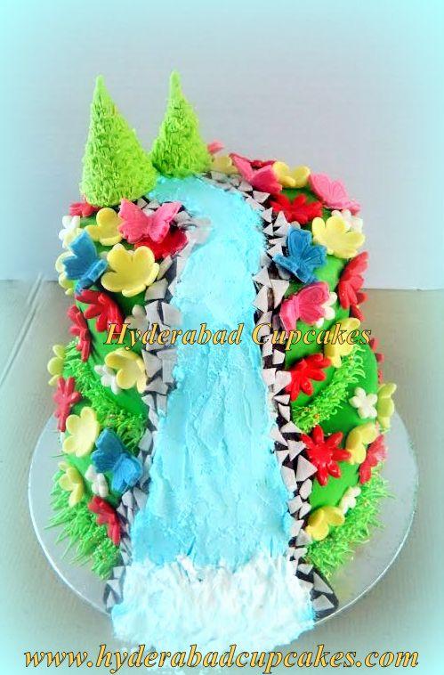 Waterfall Flowers Nature Cake Hyderabad Cupcakes