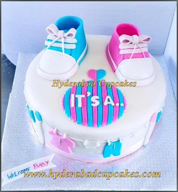Welcome Baby Baby Shower Gender Reveal Boy Girl Pink Blue Shoes Sneakers Sports Shoes Baby Clothes Cake Hyderabad Cupcakes