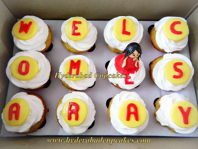 Welcome Home Cupcakes Girl Princess Fondant Figure Personalized Cupcakes Hyderabad Cupcakes