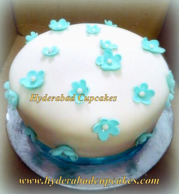 White Blue Flower Blossoms Celebration Cake Hyderabad Cupcakes