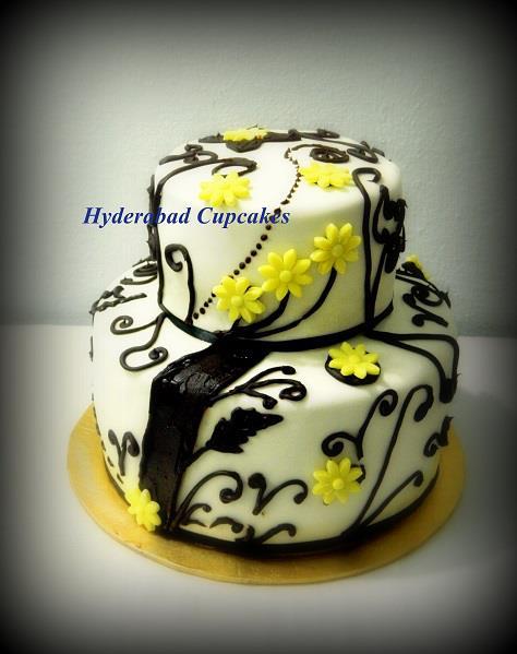 Yellow Black Modern Cake