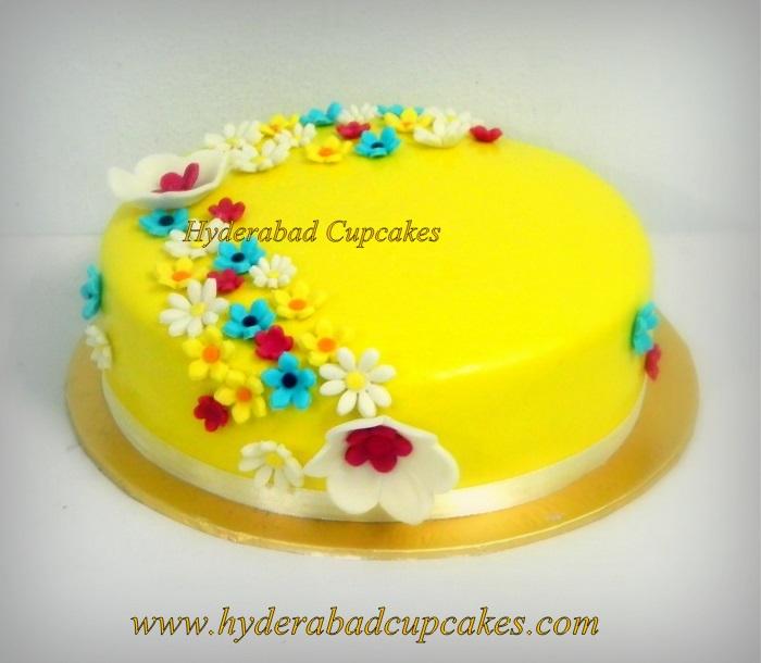 Yellow Floral Fondant Flowers Custom Cake Hyderabad Cupcakes