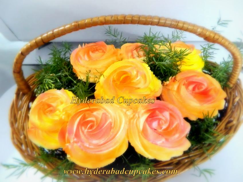 Yellow Orange Two Tone Roses Cupcake Bouquet Hyderabad Cupcakes