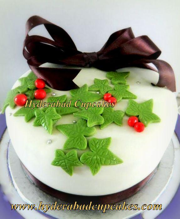 Christmas Cake Green Red Mistletoe Custom Cake Hyderabad Cupcakes