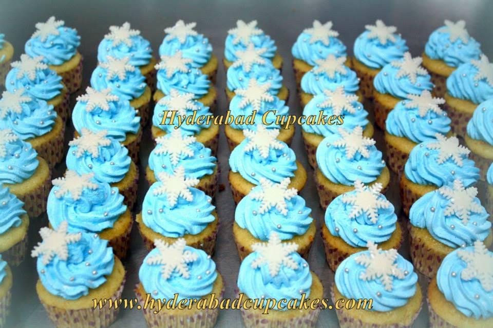 Snowflakes Winter Christmas Holidays Custom Hyderabad Cupcakes