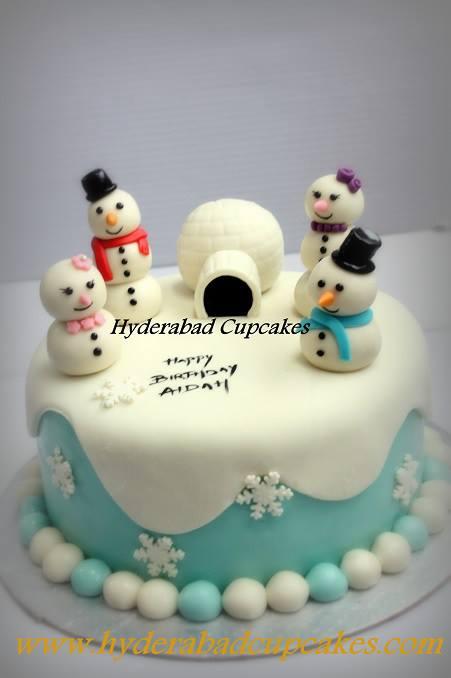 Winter Christmas Holidays Snowmen Igloo Frozen White Blue Custom Cake Hyderabad Cupcakes